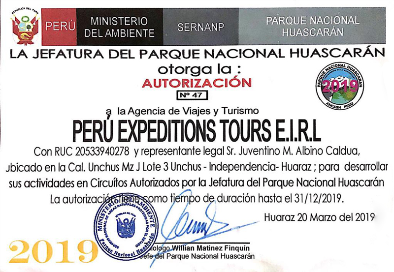 Our company documents Peru Expeditions